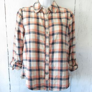 Holding Horses Plaid Top Tab Sleeve Embroidered XS